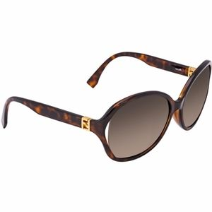 New FENDI Brown Oval Gradient Lens Sunglasses